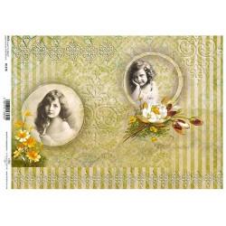 Papír rýžový A4 Dva obrázky dívek, žluté květy