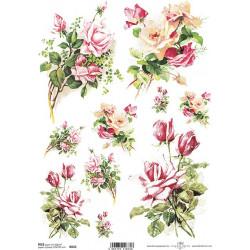 Papír rýžový A4 Menší kytice s růžemi