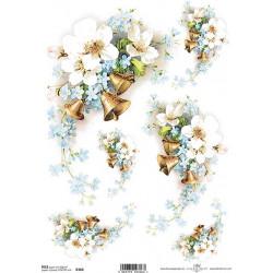 Papír rýžový A4 Zlaté zvonky s kytičkou