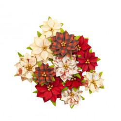 Sada papírových květů Christmas in The Country 12ks větší (Prima Marketing)