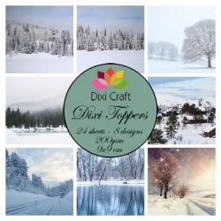 Sada kartiček 9x9cm - Zimní krajina (Dixi Craft)