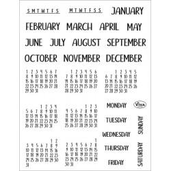 Transp.razítka D206 Kalendářní měsíce a dny