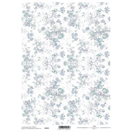 Scrap.papír A4 Celoplošný, modrošedé kytice