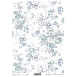 Scrap.papír A4 Celoplošný, modrošedé kytice větší