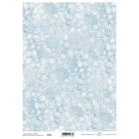 Scrap.papír A4 Sněhové vločky na modré