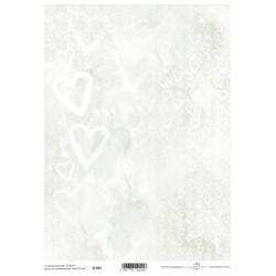Scrap.papír A4 Bílá srdíčka na mramorování, dozelena