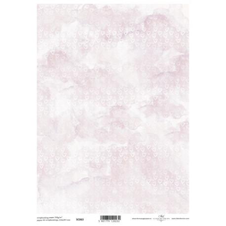 Scrap.papír A4 Bílá srdíčka na růžovém mramorování