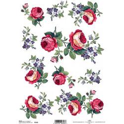 Papír rýžový A4 Růže a modré kvítky