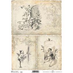 Papír rýžový A4 Tři obrázky s andílky v sépiové