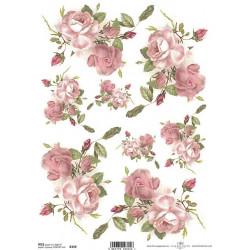 Papír rýžový A4 Růžové růžičky