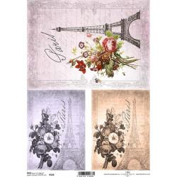 Papír rýžový A4 Tři obrázky s Eiffelovkou