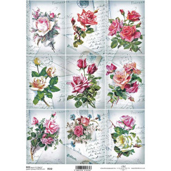 Papír rýžový A4 Růže na pohlednicích