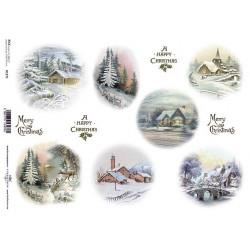 Papír rýžový A4 Zimní motivy v kruzích, krajinky večer