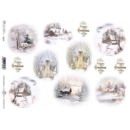 Papír rýžový A4 Zimní motivy v kruzích, krajina s kostelem