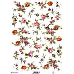 Papír rýžový A4 Malované květy III.