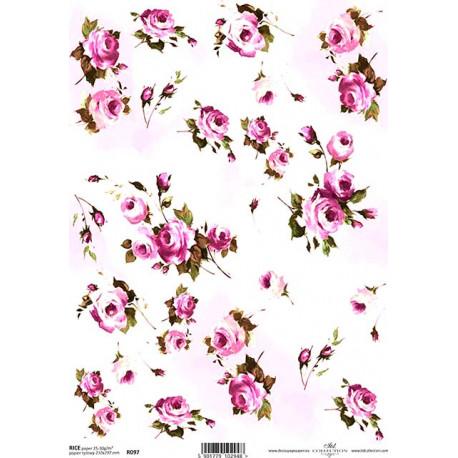 Papír rýžový A4 Malované květy IV.