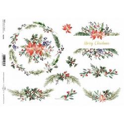 Papír rýžový A4 Vánoční dekorace s cesmínou