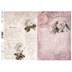 Papír rýžový A4 Růže na krajkovém pozadí a nápisy