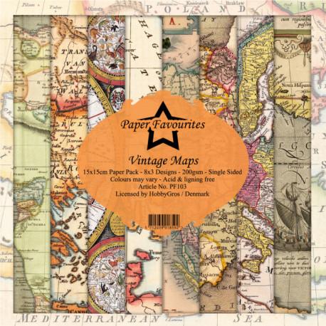 Sada papírů 15x15 Vintage Maps (Dixi Craft)