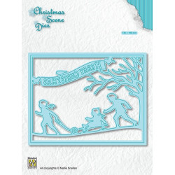 Vyřezávací šablona Vánoční obraz - Zábava na sněhu (Nellie´s Choice)