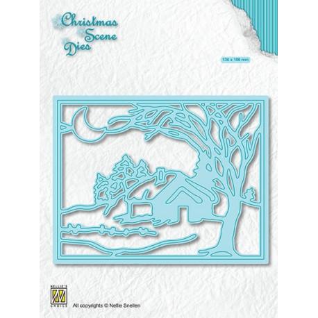 Vyřezávací šablona Vánoční obraz - Zimní měsíční noc (Nellie´s Choice)