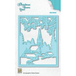 Vyřezávací šablona Vánoční obraz - Zasněžená vesnička (Nellie´s Choice)