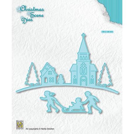 Vyřezávací šablony Vánoční obraz - Zimní čas (Nellie´s Choice)
