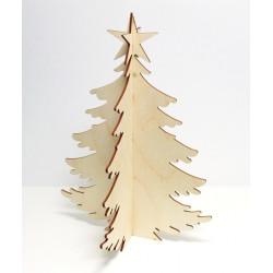 Dřevěný výřez Vánoční strom, 2 díly ke složení