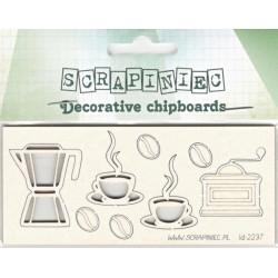Ranní káva - 8ks chipboards
