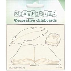 Kniha, pero, kalamář - 3ks chipboards