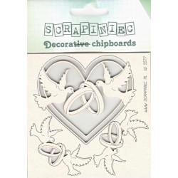 Svatební, holubice s prstýnky - 3ks chipboards