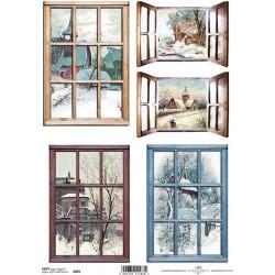 Papír soft A4 Okna s výhledem na zimní krajinu