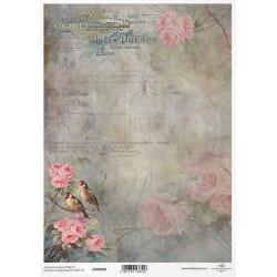 Papír pro scrapbook 200g A4 - dva ptáčci na růžové větvičce