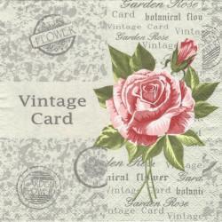 Vintage Card s růží 33x33