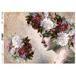 Papír rýžový A4 Žena s květinami ve vlasech