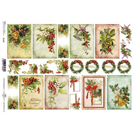 Papír rýžový A4 Obrázky vánočních dekorací