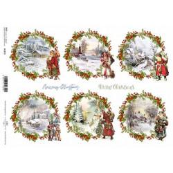 Papír rýžový A4 Vánoční obrázky 2 v kruzích s dekorovanými okraji
