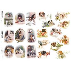 Papír rýžový A4 Malé obrázky se štěňátky