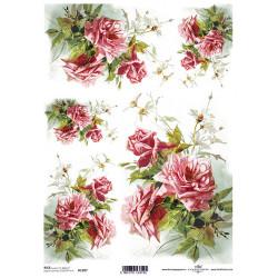 Papír rýžový A4 Tmavě růžové růže