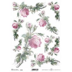 Papír rýžový A4 Větvičky růží