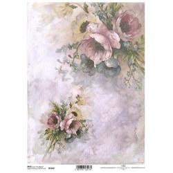 Papír rýžový A4 Kytice a květy v rohu