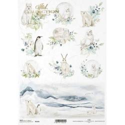 Papír rýžový A4 Zvířata v zimě, panorama hor
