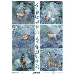 Papír rýžový A4 Zvířata v zimní noci