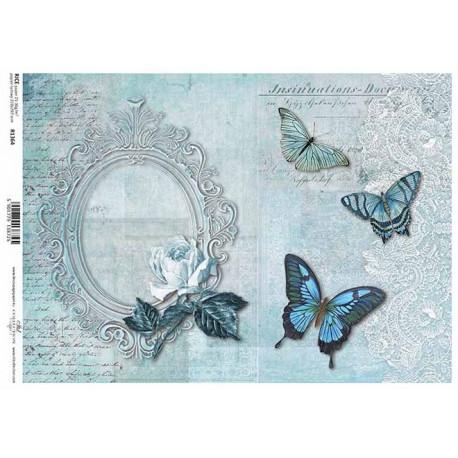 Papír rýžový A4 Oválný rámeček s růží, motýli