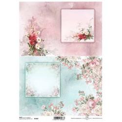 Papír rýžový A4 Dva obrázky s květinami, růžové a modré