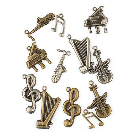 Set kovových přívěsků - hudební nástroje