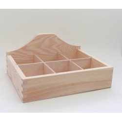 Krabička na čaj otevřená 6 komor, rovné dno