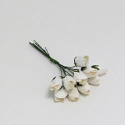 Papírové tulipány bílé - 15mm, 10ks