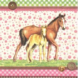 Kůň a hříbě, na pozadí květy 33x33