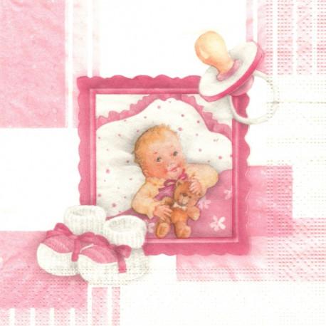 Růžový s dětským motivem 33x33